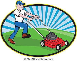 slåmaskine græsplæne, cartoon, gartner, mand