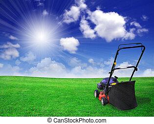 slåmaskine græsplæne, på, grønnes felt