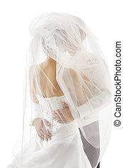 slöja, par, brudgum, brud, bröllop, höjande, kyssande