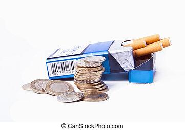 slösat, pengar, rökar