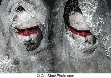slør, snørebånd, makeup, maske, belagt, hvid rød, mand