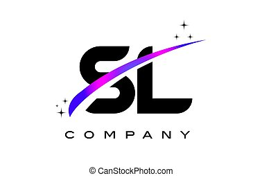 SL S L Black Letter Logo Design with Purple Magenta Swoosh...