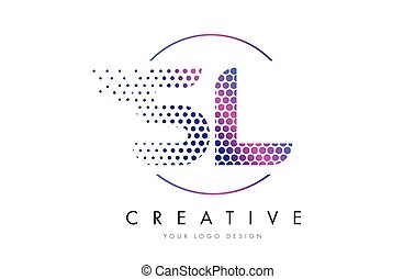 sl s l pink magenta dotted bubble letter logo design vector