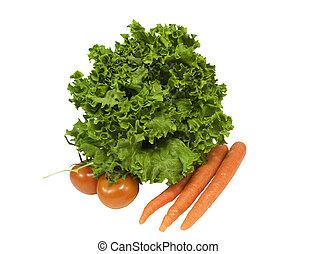 sla, met, wortels, en, tomaten