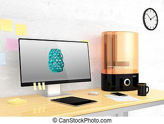 sla, pc, 3d, impresora, escritorio