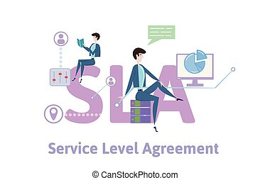 SLA, Service Level Agreement. Concept table with keywords,...