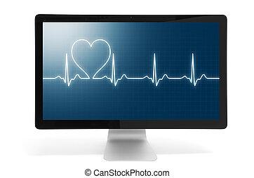 slaan, hart, online