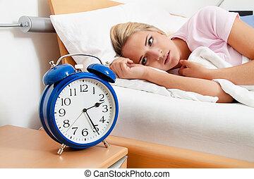 slaap, night., klok