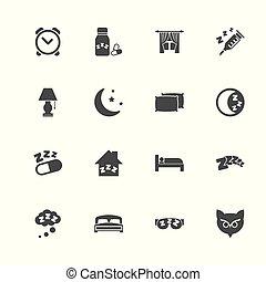 slaap, -, plat, vector, iconen