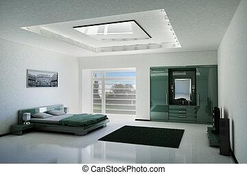 slaapkamer, interieur, 3d
