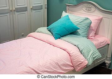 slaapkamer, meiden, detail
