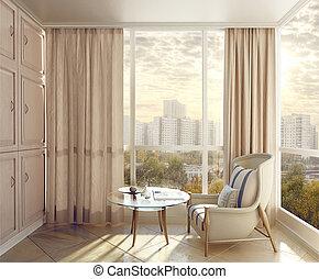 slaapkamer, seating, gebied, in, zonlicht, met, aanzichten,...