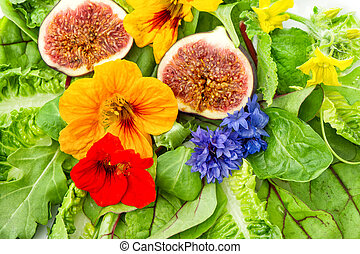 slaatje, gezond voedsel, groene vijg, fris, fruits., bloemen