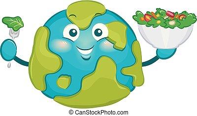 slaatje, groot, illustratie, aarde, eten, mascotte
