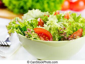 slaatje, met, groentes, en, groente