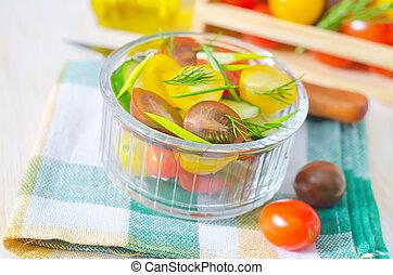 slaatje, met, groentes
