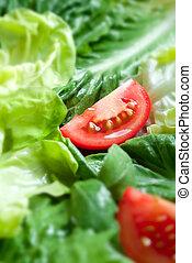 slaatje, met, tomaat, snede