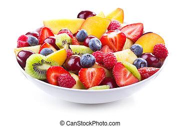 slaatje, met, verse vruchten, en, besjes