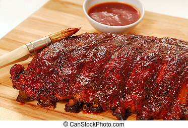 Slab of BBQ spare ribs - Slab of freshly grilled BBQ spare...