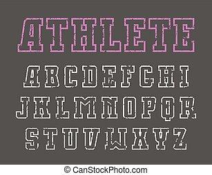 Slab serif contour font in sport style - Slab serif contour...