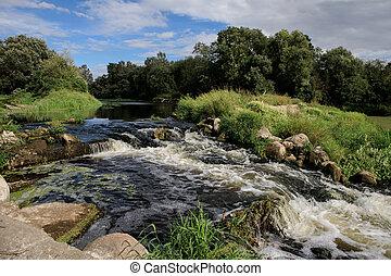 Slabada millhouse dam on the river Nevezis near Krekenava,...