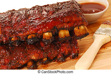 Slabs of BBQ Spare ribs - Two slabs of delicious BBQ spare ...