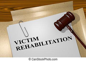 slachtoffer, rehabilitatie, concept