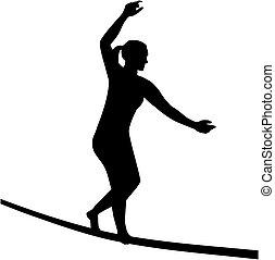 slacklining, femme, silhouette