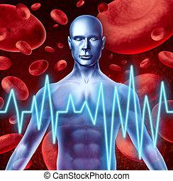 slag, en, hartaanval, waarschuwingsseinen