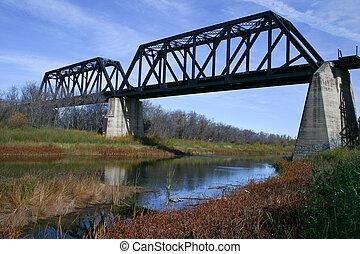 slag, rivier, trein, brug