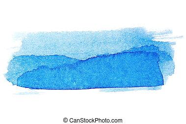 slagen, borstel, blauwe inkt, geverfde