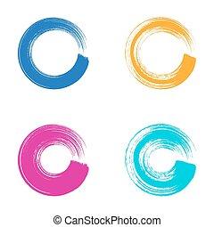 slagen, cirkel, vector, borstel, kleurrijke