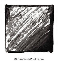 slagen, frame, zwarte inkt