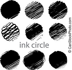 slagen, grunge, (individual, borstel, set, vector, cirkel, objects).