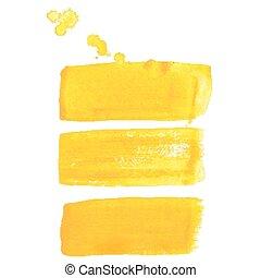 slagen, vector, borstel, gele, inkt