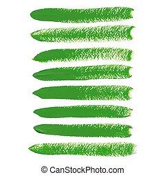 slagen, vector, groene, borstel, inkt
