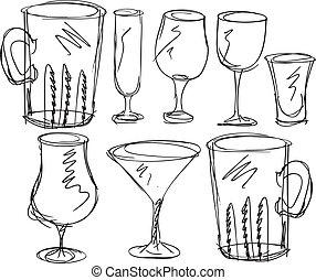 slagen, vektor, olika, glasses., illustration