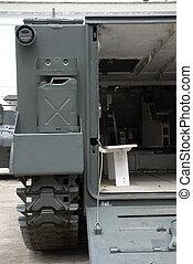 slagfält, transport, specificera, vehicle., militär