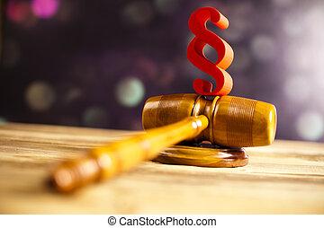 slaghamer, paragraaf, thema, houten gavel, wet, rechter