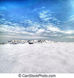Slagheap winter in the snow. Donetsk.