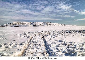 Slagheap winter in the snow. Donetsk