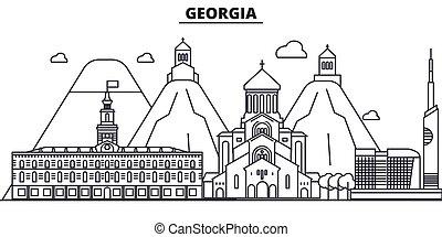 slaglängder, stadsbild, synen, landskap, vektor, milstolpar, illustration., berömd, design, wtih, fodra, arkitektur, horisont, stad, georgia, linjär, editable, icons.