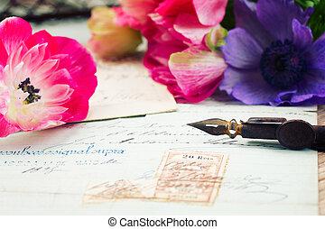 slagpen balpen, en, antieke , brieven, met, anemoon, bloemen
