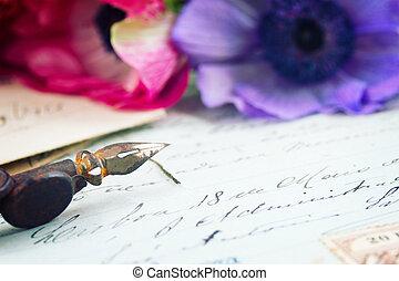 slagpen balpen, en, antieke , brieven, met, bloemen