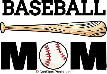 slagträ, boll, banner., typografi, baseball, mamma, tryck, sport