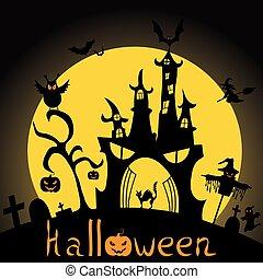 slagträ, illustration., cemetery., halloween, silhouette., bakgrund., vektor, häxa, slott