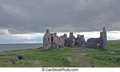 Slains Castle time lapse , Scotland, UK, Europe