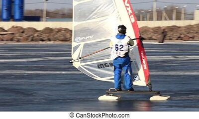 Slalom at winter windsurfing - participant World Cup in...