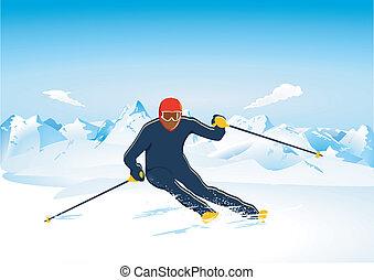 slalom, ski fahrend
