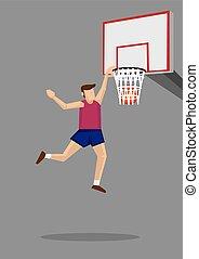 Slam Dunk Cartoon Illustration - Basketball player leaps...